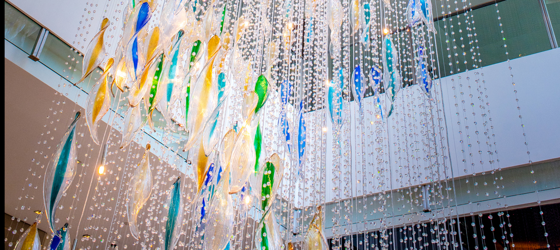A soothing waterfall of Bohemian glass