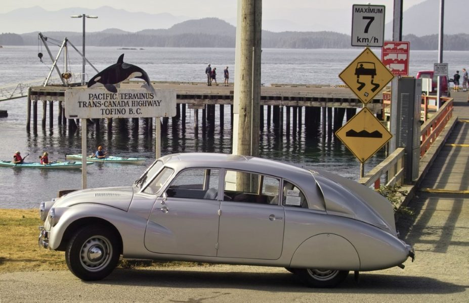 Old-timer at the end of Trans-Canada Highway in Tofino, B.C.