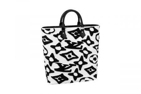 Cabas Louis Vuitton x Urs Fischer in tuffeted Monogram canvas in White and Black (Custom)